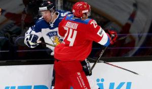 Хоккеисты сборной России и Финляндии
